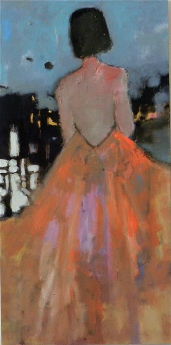 Discover Original Art by Mary Pratt | Orange Dress oil painting | Art for Sale Online at UGallery
