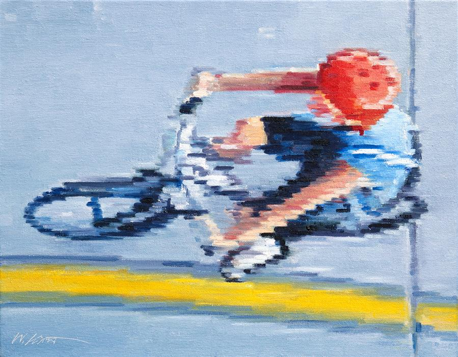 Discover Original Art by Warren Keating | Aerial View of Child Riding Bicycle oil painting | Art for Sale Online at UGallery