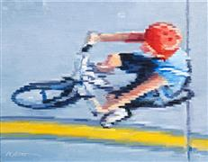 People art,Sports art,Street Art art,Representational art,oil painting,Aerial View of Child Riding Bicycle