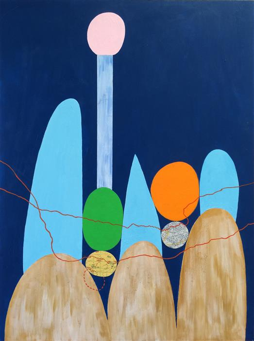 Discover Original Art by Nancy Goodman Lawrence | Spot of Orange mixed media artwork | Art for Sale Online at UGallery