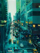 Architecture art,Impressionism art,Travel art,Realism art,Representational art,oil painting,E. Grand Avenue, Chicago