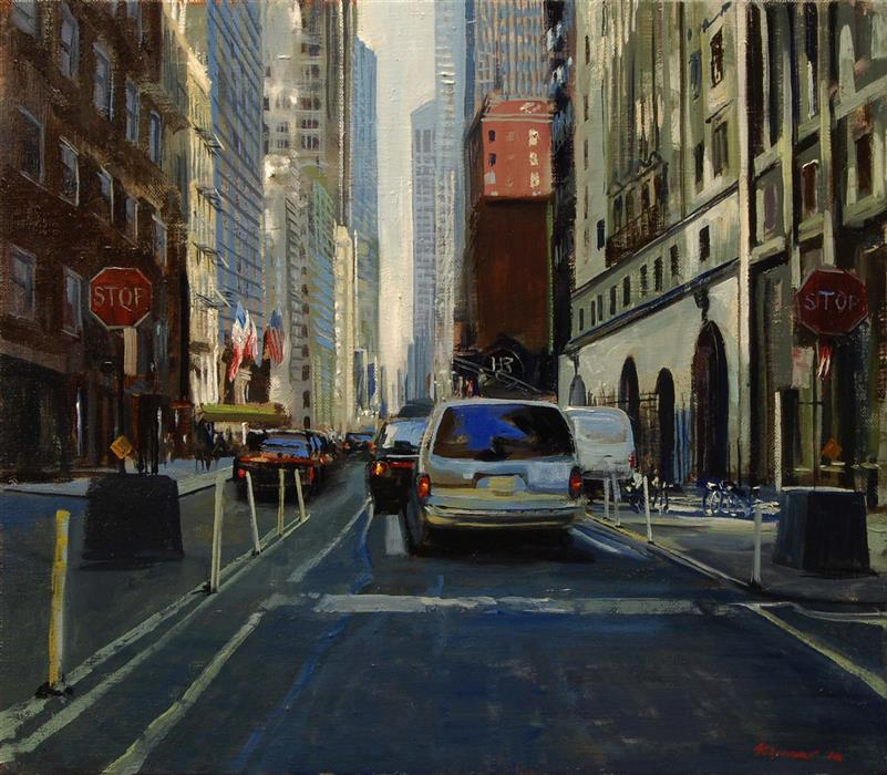 Discover Original Art by Onelio Marrero | 56th Street: 10 AM oil painting | Art for Sale Online at UGallery