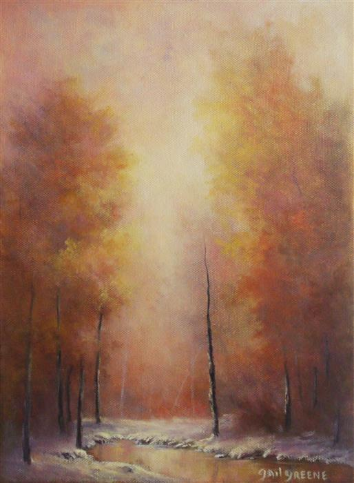 Original art for sale at UGallery.com | Autumn's Fire by GAIL GREENE | $325 | Oil painting | 12' h x 9' w | http://www.ugallery.com/oil-painting-autumn-s-fire