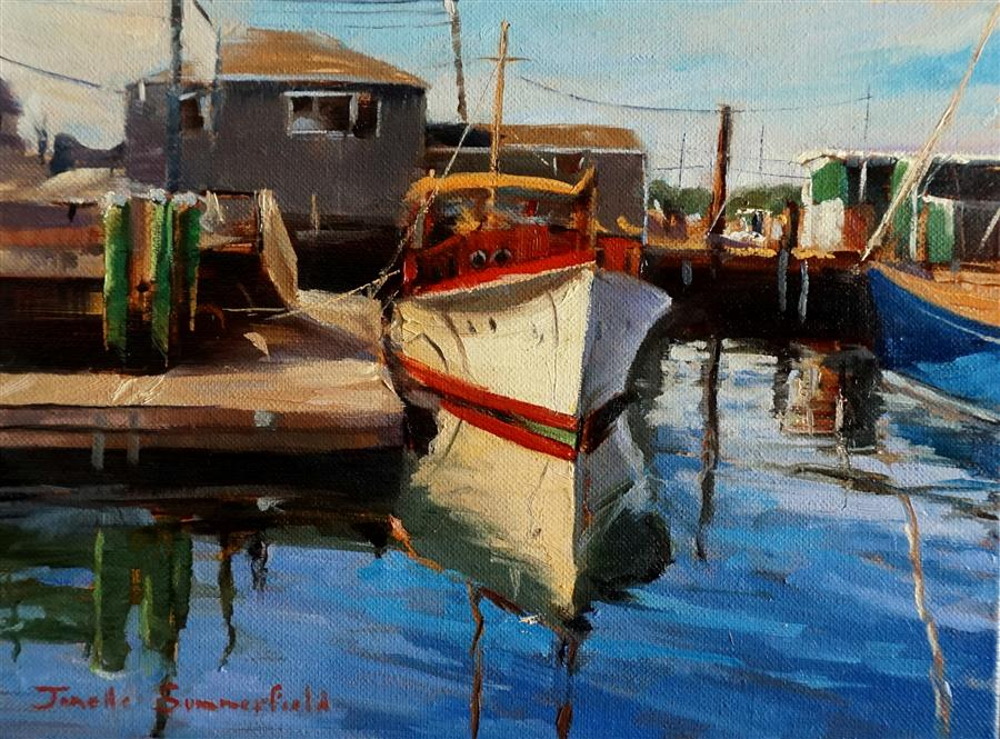Discover Original Art by Jonelle Summerfield   Docked in Newport oil painting   Art for Sale Online at UGallery