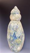 Animals art,Nature art,Non-representational art,ceramic artwork,Dancing Birds Covered Jar