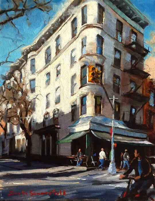 Discover Original Art by Jonelle Summerfield   Corner Bistro in the West Village oil painting   Art for Sale Online at UGallery
