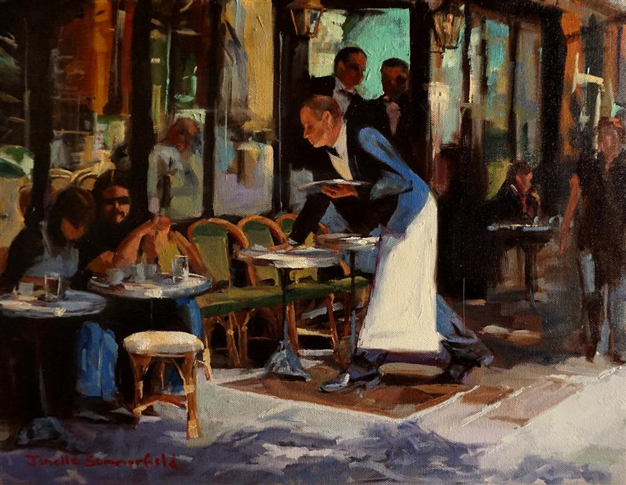 Discover Original Art by Jonelle Summerfield   Parisian Waiter oil painting   Art for Sale Online at UGallery