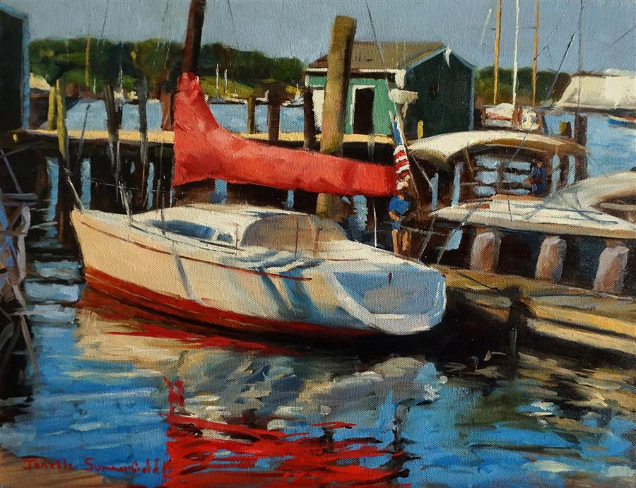 Discover Original Art by Jonelle Summerfield   Newport Yacht oil painting   Art for Sale Online at UGallery