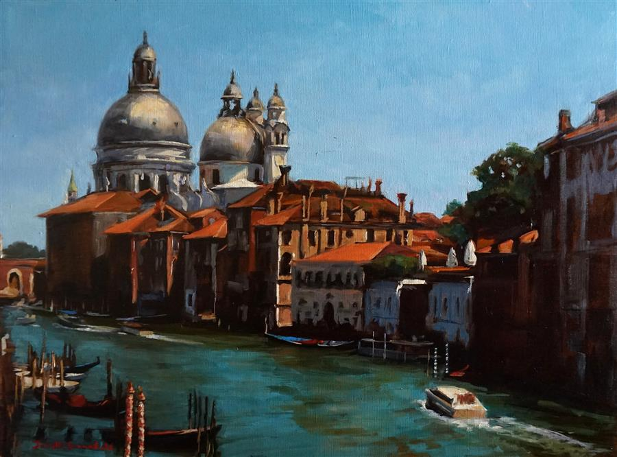 Discover Original Art by Jonelle Summerfield   View of Basilica Di Santa Maria Della Salute oil painting   Art for Sale Online at UGallery