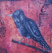 Animals art,Representational art,Primitive art,Vintage art,acrylic painting,Blackbird II