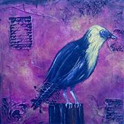 Animals art,Representational art,Primitive art,Vintage art,acrylic painting,Yellow Headed Blackbird