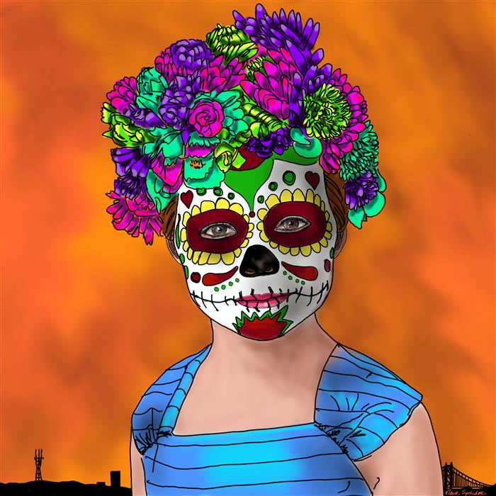 Discover Original Art by Fleur Spolidor | San Francisco Day of the Dead digital printmaking | Art for Sale Online at UGallery