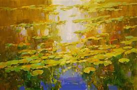 Impressionism art,Landscape art,Nature art,Representational art,oil painting,Autumn Pond