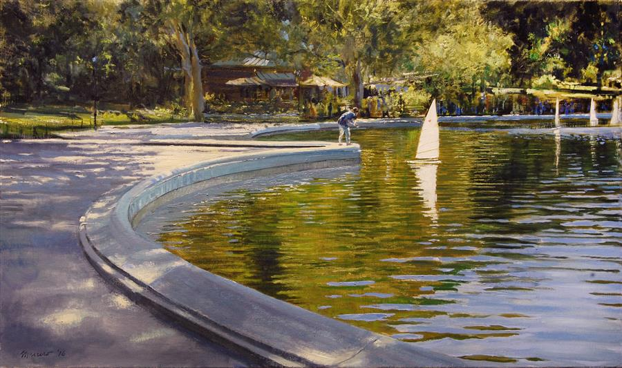 Discover Original Art by Onelio Marrero   Conservatory Pond Regatta oil painting   Art for Sale Online at UGallery