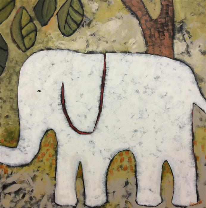 Original art for sale at UGallery.com | Elephant Walk by JAIME ELLSWORTH | $2,775 | Acrylic painting | 36' h x 36' w | http://www.ugallery.com/acrylic-painting-elephant-walk