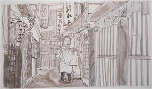 Architecture art,People art,Representational art,ink artwork,Old Woman Opening the Store