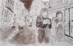 Architecture art,People art,Travel art,Representational art,ink artwork,Young Women on Their Mobiles
