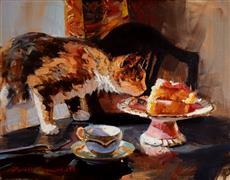 Impressionism art,Animals art,Cuisine art,Representational art,oil painting,Cat and Cake