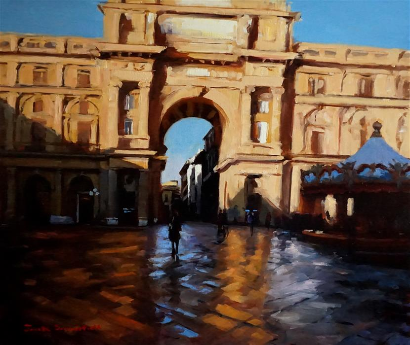Discover Original Art by Jonelle Summerfield | Piazza Della Republica oil painting | Art for Sale Online at UGallery