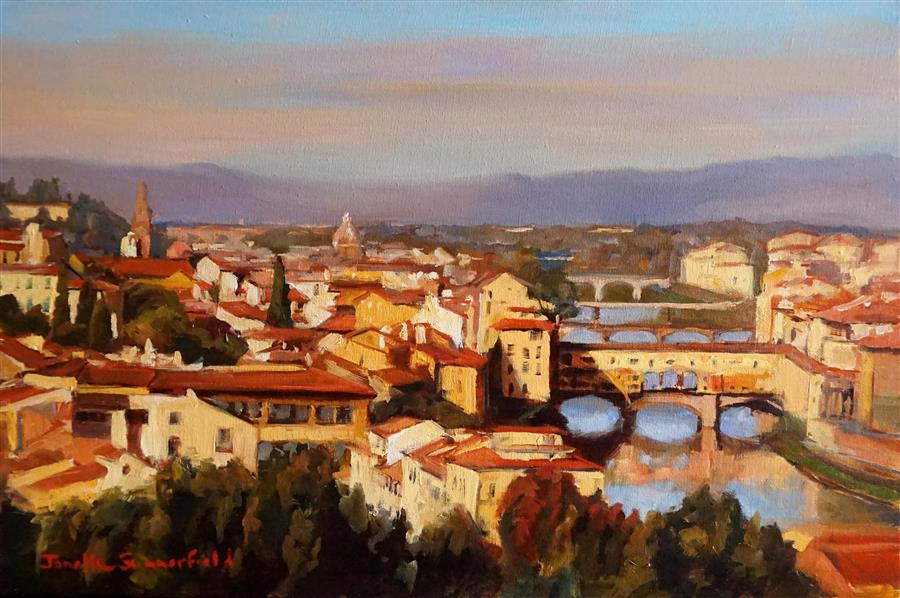 Discover Original Art by Jonelle Summerfield   View of the Arno oil painting   Art for Sale Online at UGallery