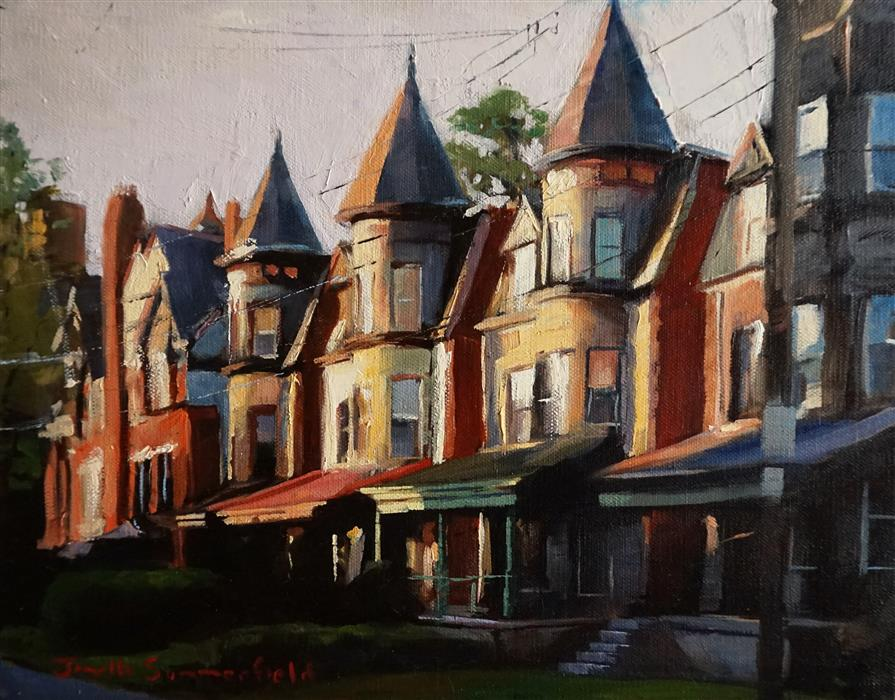 Discover Original Art by Jonelle Summerfield   Houses in Shadyside oil painting   Art for Sale Online at UGallery