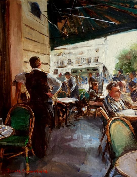 Discover Original Art by Jonelle Summerfield | Sidewalk Cafe in Paris III oil painting | Art for Sale Online at UGallery