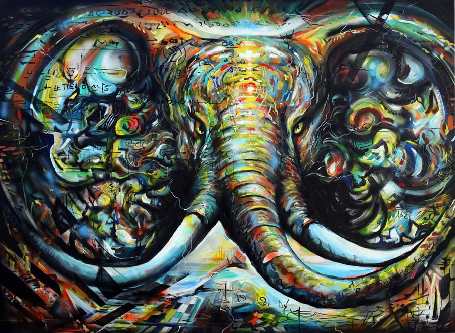 Discover Original Art by Piero Manrique   Enchanted Elephant acrylic painting   Art for Sale Online at UGallery