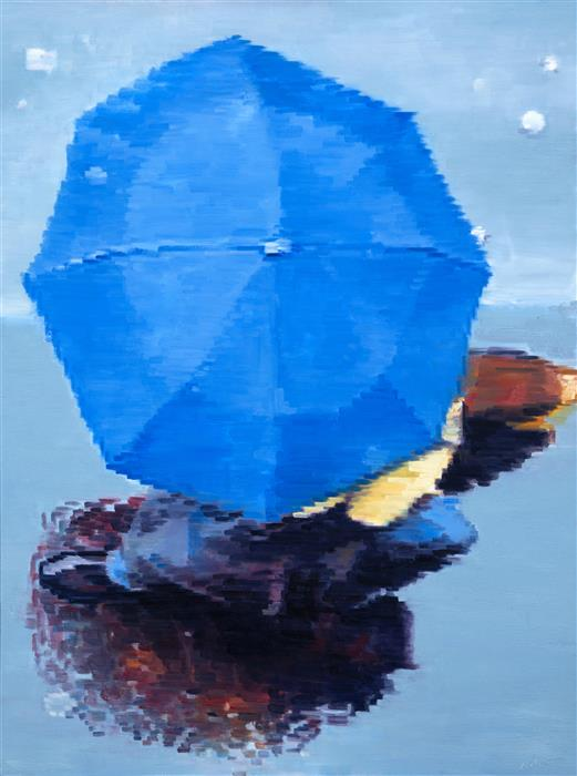 Discover Original Art by Warren Keating | Aerial View of Couple under Blue Umbrella in Paris Rain oil painting | Art for Sale Online at UGallery