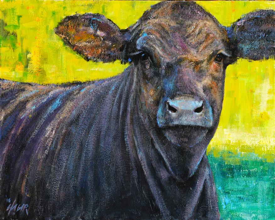 Original art for sale at UGallery.com | Black Steer by NATHAN HAGER | $975 | Oil painting | 16' h x 20' w | http://www.ugallery.com/oil-painting-black-steer