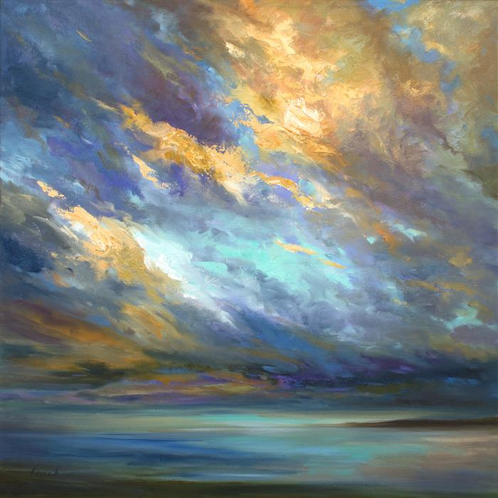 Original art for sale at UGallery.com | Coastal Clouds XXX by SHEILA FINCH | $2,275 | Oil painting | 20' h x 20' w | http://www.ugallery.com/oil-painting-coastal-clouds-xxx