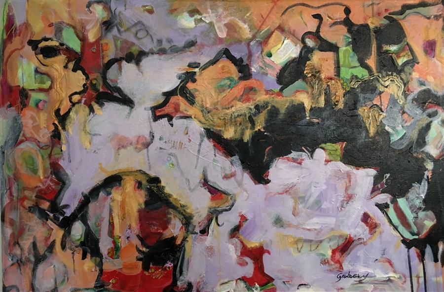 Discover Original Art by Sheila Grabarsky | Flying Dog mixed media artwork | Art for Sale Online at UGallery