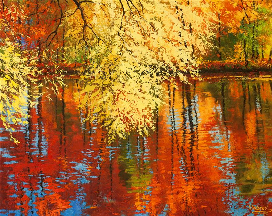 Discover Original Art by Stanislav Sidorov | Fall Reflection oil painting | Art for Sale Online at UGallery