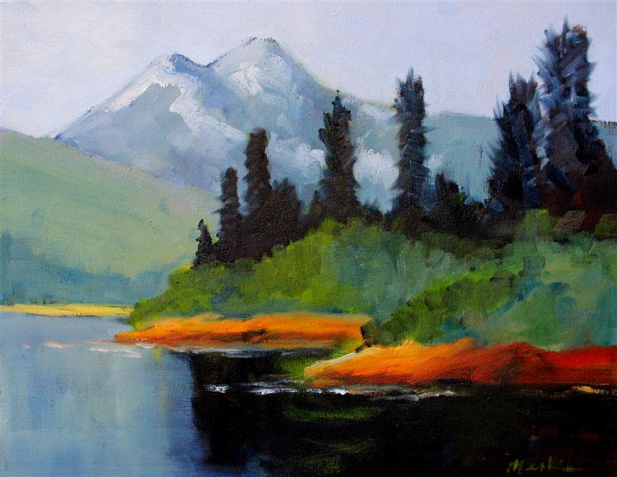 Original art for sale at UGallery.com | Cascade View by NANCY MERKLE | $350 | Oil painting | 11' h x 14' w | http://www.ugallery.com/oil-painting-cascade-view