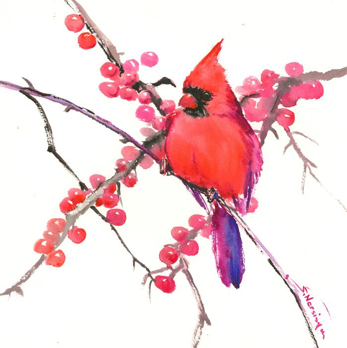 Discover Original Art by Suren Nersisyan | Cardinal and Berries watercolor painting | Art for Sale Online at UGallery