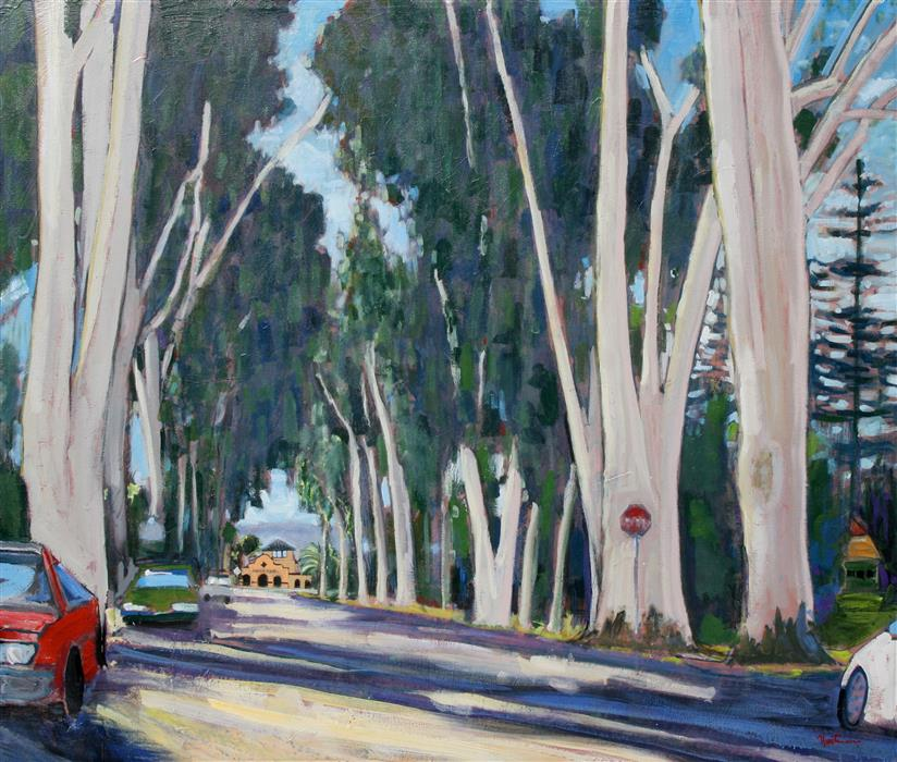 Discover Original Art by James Hartman | Burlingame Avenue oil painting | Art for Sale Online at UGallery