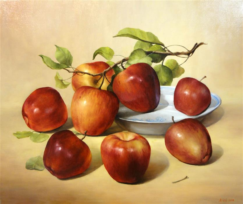 Discover Original Art by Nikolay Rizhankov | Dancing Apples oil painting | Art for Sale Online at UGallery