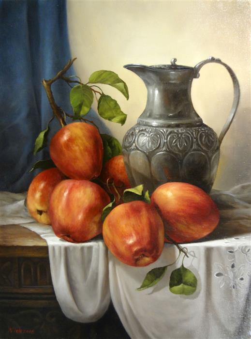 Discover Original Art by Nikolay Rizhankov | Still Life with Silver Jug oil painting | Art for Sale Online at UGallery