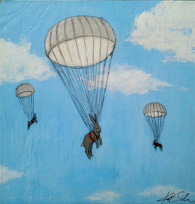 Discover Original Art by Kat Silver | Sky Diving Bunnies acrylic painting | Art for Sale Online at UGallery