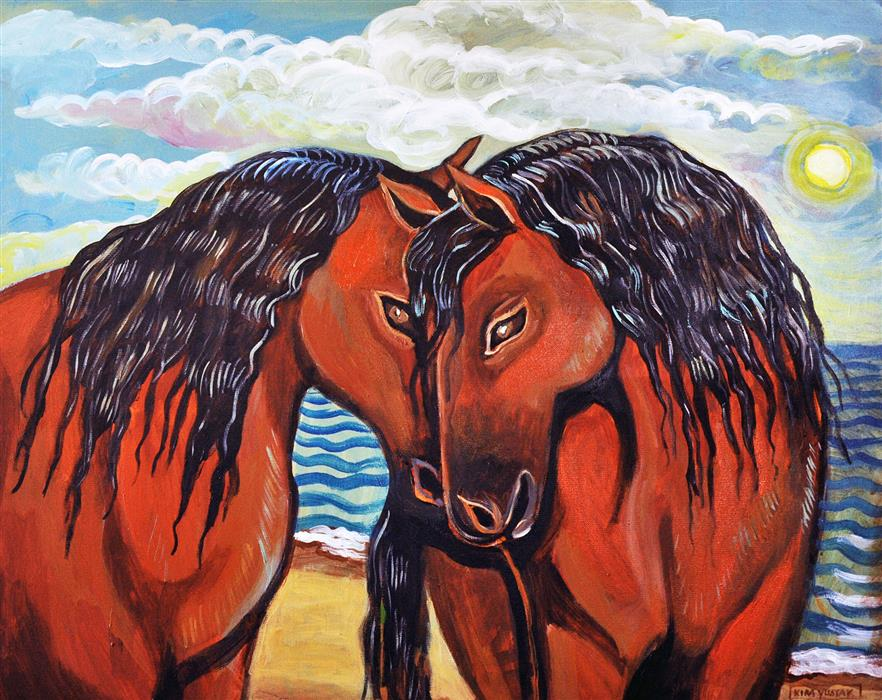 Discover Original Art by Kira Yustak | Kissing Horses acrylic painting | Art for Sale Online at UGallery
