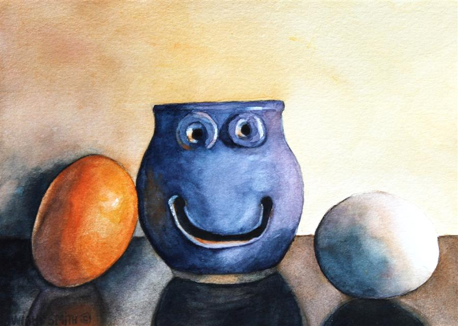 Discover Original Art by Dwight Smith | The Egg Separator  watercolor painting | Art for Sale Online at UGallery