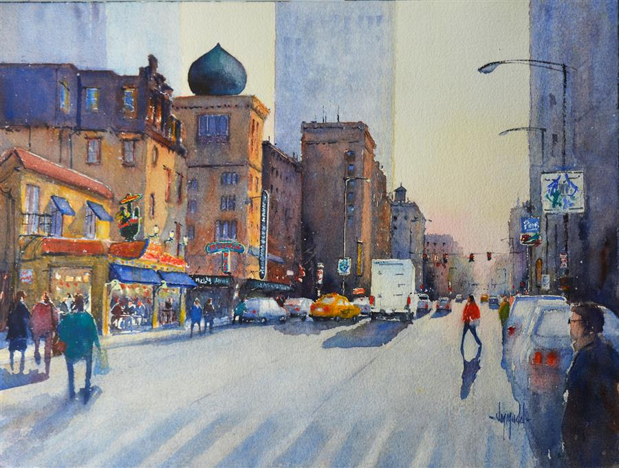 Original art for sale at UGallery.com | Happy Hour (Chicago) by JUDY MUDD | $650 | Watercolor painting | 12' h x 16' w | http://www.ugallery.com/watercolor-painting-happy-hour-chicago