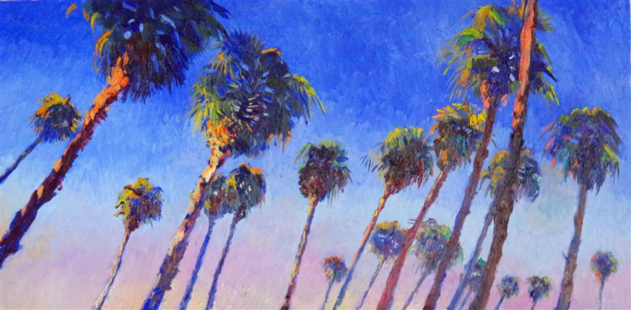 Discover Original Art by Suren Nersisyan | Palms and Blue Sky oil painting | Art for Sale Online at UGallery
