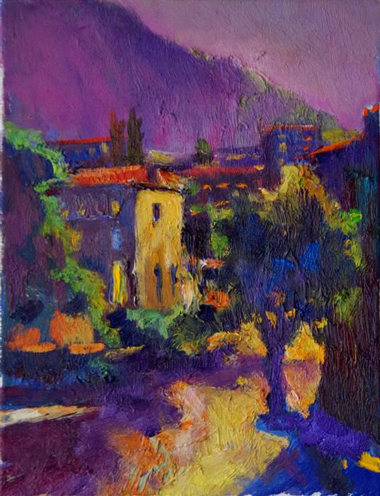Discover Original Art by Suren Nersisyan | Twilight in Small Town oil painting | Art for Sale Online at UGallery