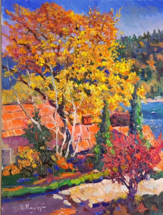 Discover Original Art by Suren Nersisyan | Fall in Lake Arrowhead (Sunny Day) oil painting | Art for Sale Online at UGallery