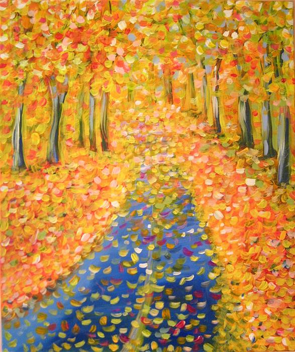 Discover Original Art by Natasha Tayles | Autumn Road acrylic painting | Art for Sale Online at UGallery
