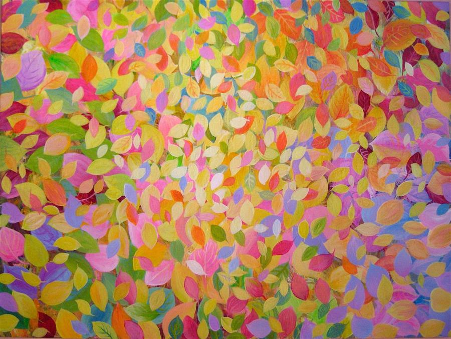 Discover Original Art by Natasha Tayles | Colorful Leaves acrylic painting | Art for Sale Online at UGallery