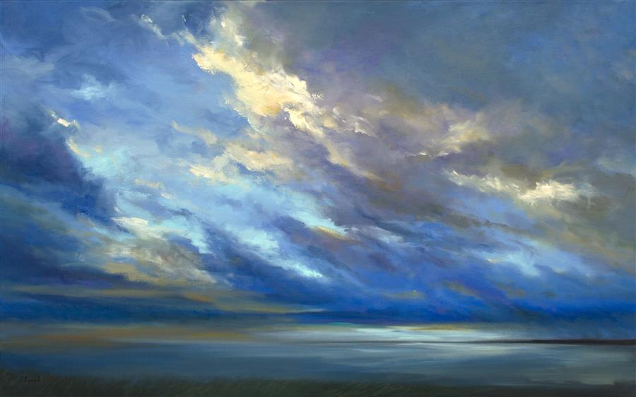 Original art for sale at UGallery.com | Coastal Sky II by SHEILA FINCH | $5,250 | Oil painting | 30' h x 48' w | http://www.ugallery.com/oil-painting-coastal-sky-ii