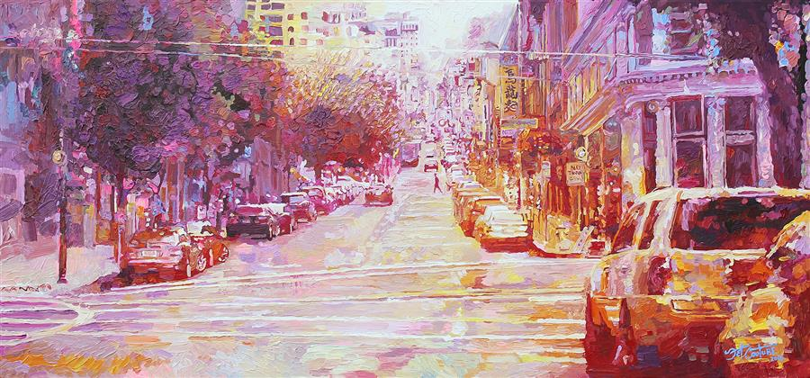 Original art for sale at UGallery.com | Sunrise for China Town, San Francisco by SETH COUTURE | $3,300 | Acrylic painting | 28' h x 60' w | http://www.ugallery.com/acrylic-painting-sunrise-for-china-town-san-francisco