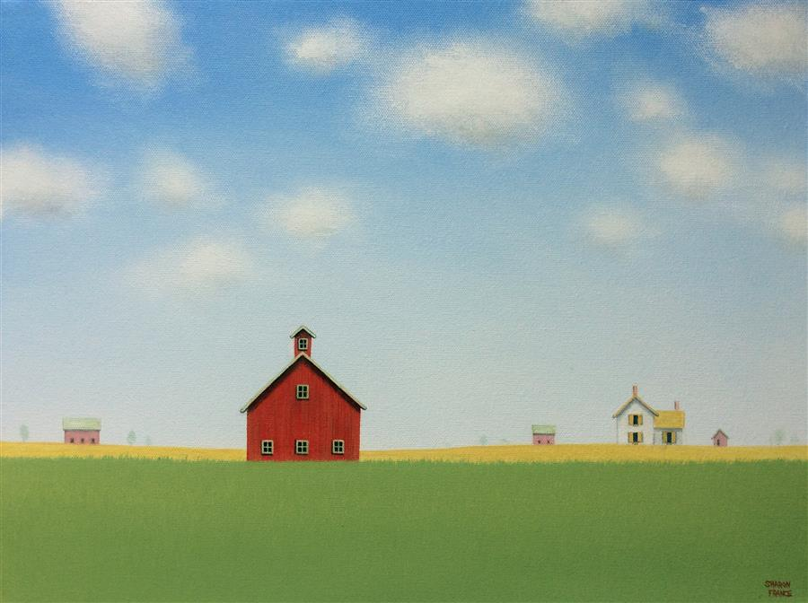 Original art for sale at UGallery.com | Red Barn Under a Big Blue Sky by SHARON  FRANCE | $750 | Acrylic painting | 12' h x 16' w | http://www.ugallery.com/acrylic-painting-red-barn-under-a-big-blue-sky