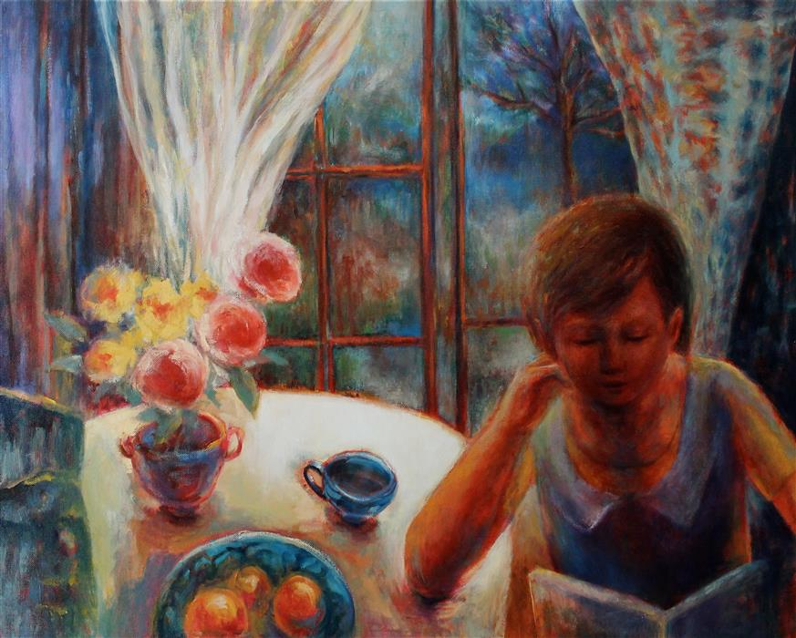 Discover Original Art by Naoko Paluszak | Girl with a Book oil painting | Art for Sale Online at UGallery